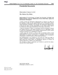 President Trump's memorandum restoring and expanding the Mexico City policy. Credit: Donald Trump [Public domain], via Wikimedia Commons